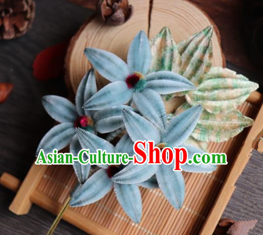 Chinese Handmade Wedding Blue Velvet Hairpins Ancient Palace Queen Hair Accessories Headwear for Women