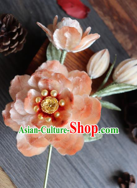 Chinese Handmade Wedding Orange Velvet Peony Hairpins Ancient Palace Queen Hair Accessories Headwear for Women