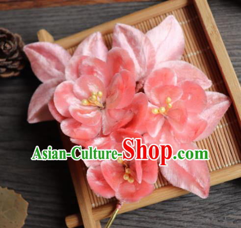 Chinese Handmade Wedding Pink Velvet Peach Flower Hairpins Ancient Palace Queen Hair Accessories Headwear for Women