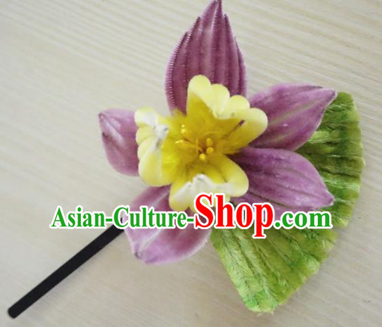 Chinese Handmade Purple Velvet Lotus Hairpins Ancient Palace Queen Hair Accessories Headwear for Women