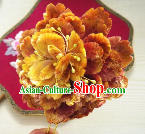 Chinese Handmade Golden Velvet Peony Hairpins Ancient Palace Queen Hair Accessories Headwear for Women