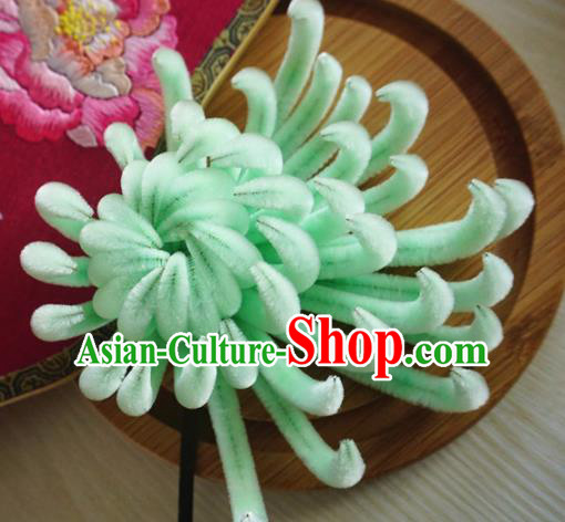 Chinese Handmade Palace Green Velvet Chrysanthemum Hairpins Ancient Queen Hair Accessories Headwear for Women