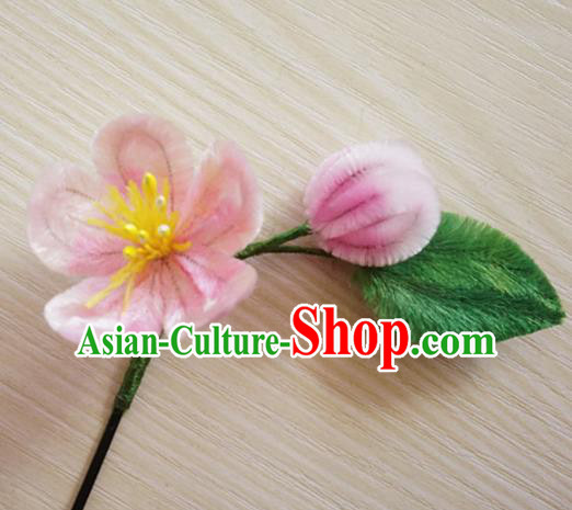 Chinese Handmade Palace Pink Plum Blossom Velvet Hairpins Ancient Queen Hair Accessories Headwear for Women