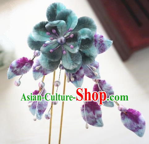 Chinese Handmade Palace Velvet Hairpins Ancient Queen Hair Accessories Headwear for Women