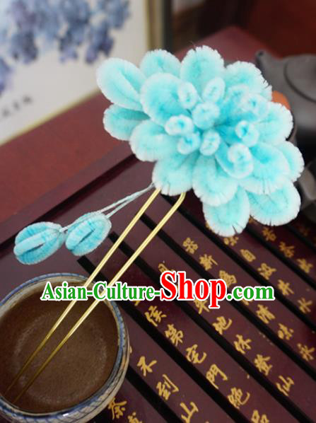 Chinese Handmade Palace Blue Velvet Hairpins Ancient Queen Hair Accessories Headwear for Women