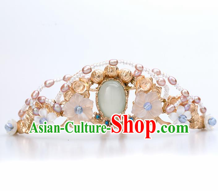 Chinese Handmade Hanfu Pearls Hair Crown Hairpins Ancient Princess Hair Accessories Headwear for Women