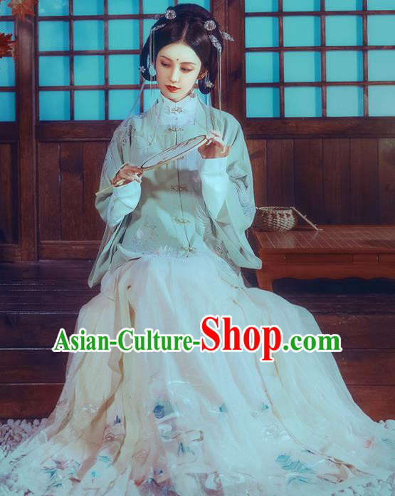 Traditional Chinese Ming Dynasty Young Lady Historical Costume Ancient Court Princess Embroidered Hanfu Dress for Women