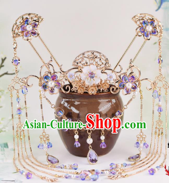 Chinese Handmade Palace Hair Crown Tassel Hairpins Ancient Princess Hanfu Hair Accessories Headwear for Women