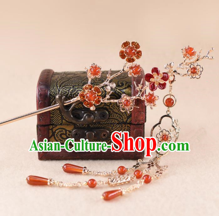 Chinese Handmade Palace Agate Plum Blossom Hairpins Ancient Princess Hanfu Hair Accessories Headwear for Women