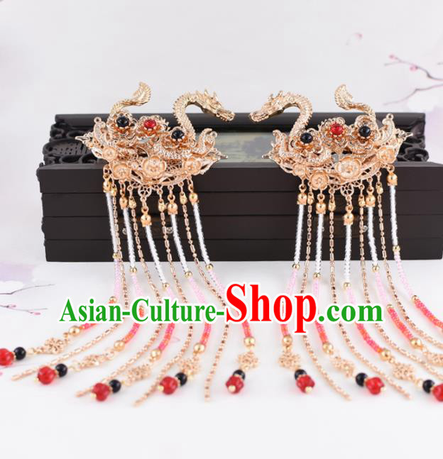 Chinese Handmade Palace Golden Dragons Hair Claw Hairpins Ancient Princess Hanfu Hair Accessories Headwear for Women