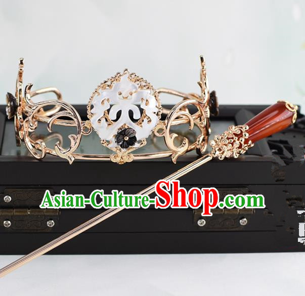 Chinese Traditional Swordsman Hair Accessories Ancient Prince Golden Hairdo Crown for Men