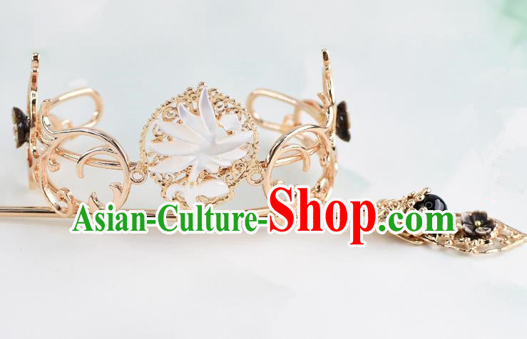 Chinese Traditional Swordsman Hair Accessories Ancient Prince Lotus Hairdo Crown for Men