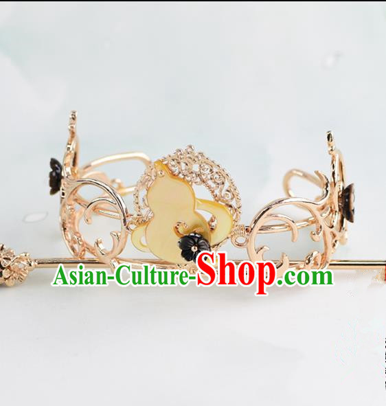 Chinese Traditional Swordsman Hair Accessories Ancient Prince Calabash Hairdo Crown for Men