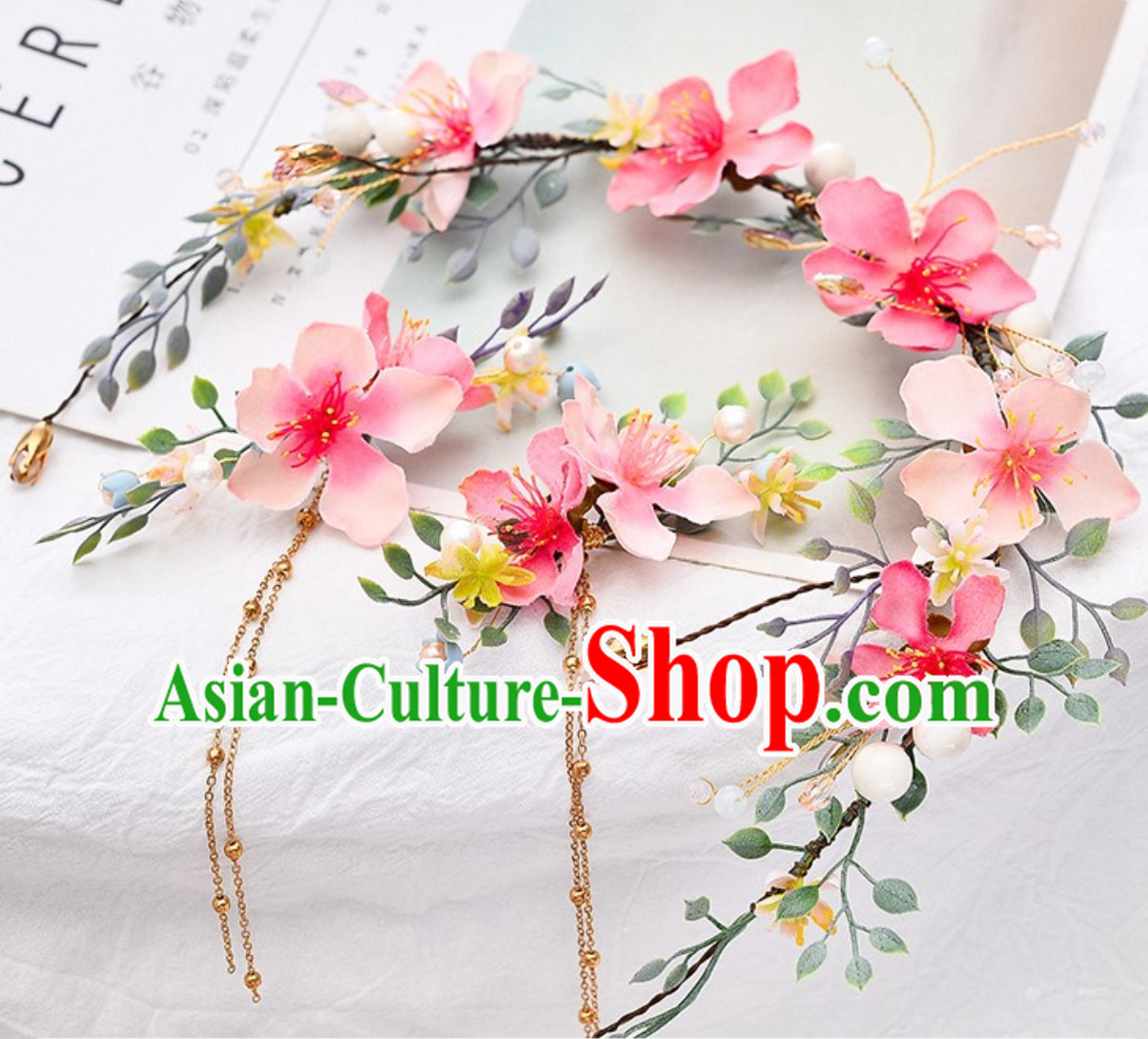 Romantic Handmade Pink Garland Hair Decoration and Earring Full Set for Girls