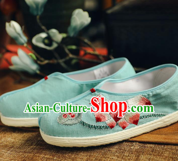 Chinese Handmade Cloth Shoes Traditional National Shoes Ancient Princess Embroidered Lotus Green Hanfu Shoes for Women