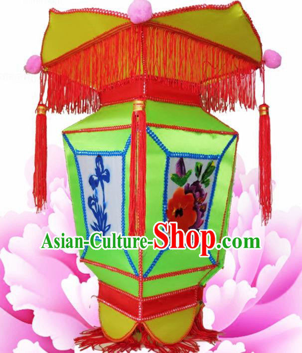 Handmade Chinese Painting Green Palace Lanterns Traditional Lantern Ancient Ceiling Lamp
