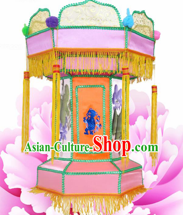 Handmade Chinese Painting Pink Palace Lanterns Traditional Lantern Ancient Ceiling Lamp