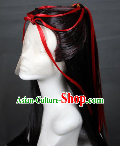 Chinese Traditional Cosplay Prince Black Wig Ancient Swordsman Wig Sheath for Men