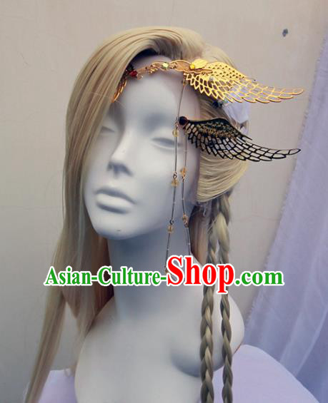 Chinese Traditional Cosplay Knight Prince Wig Ancient Swordsman Wig Sheath for Men