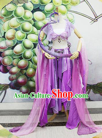 Chinese Traditional Cosplay Swordswoman Costume Ancient Peri Purple Hanfu Dress for Women
