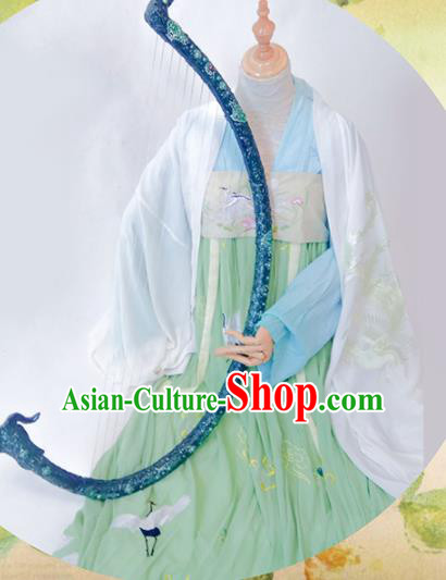 Chinese Traditional Cosplay Palace Costume Ancient Tang Dynasty Princess Green Hanfu Dress for Women