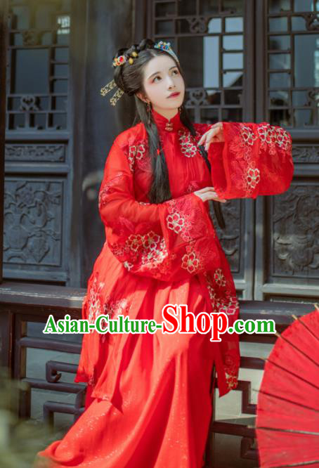Chinese Traditional Ming Dynasty Wedding Costume Ancient Nobility Lady Red Hanfu Dress for Women