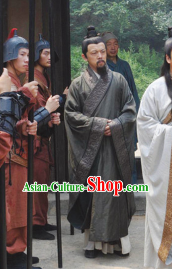 Chinese Ancient Gray Robe Male Clothing Traditional Scholar Costume Complete Set for Men