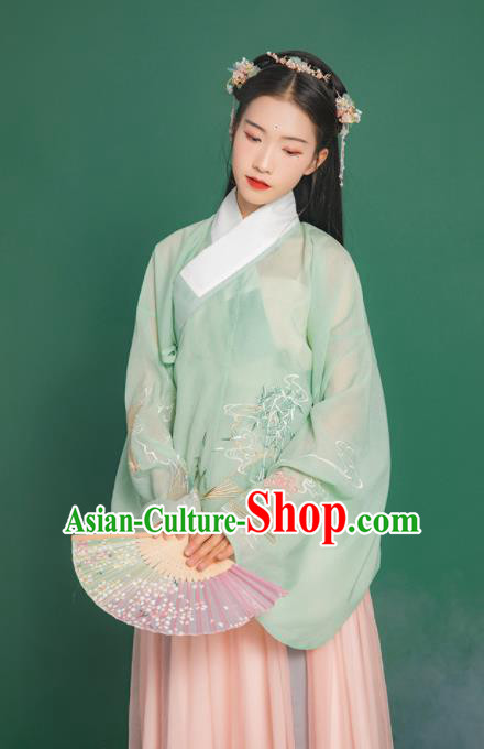 Chinese Traditional Ancient Nobility Lady Embroidered Hanfu Dress Ming Dynasty Historical Costume for Women