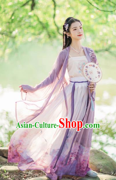 Chinese Ancient Song Dynasty Young Lady Embroidered Hanfu Dress Traditional Historical Costume for Women