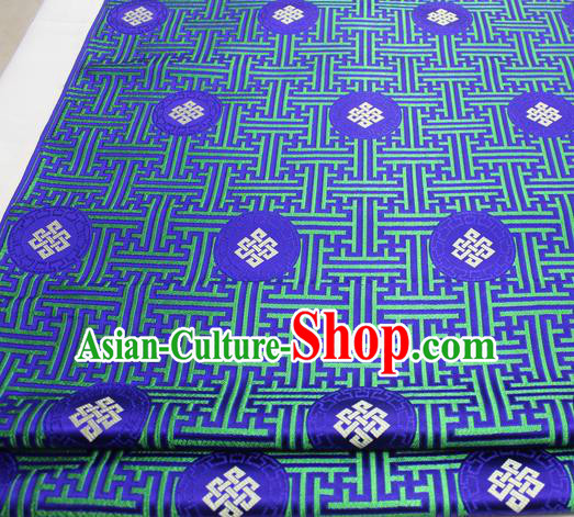 Asian Chinese Traditional Tang Suit Royal Lucky Knot Pattern Royalblue Brocade Satin Fabric Material Classical Silk Fabric