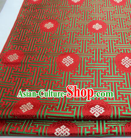 Asian Chinese Traditional Tang Suit Royal Lucky Knot Pattern Red Brocade Satin Fabric Material Classical Silk Fabric