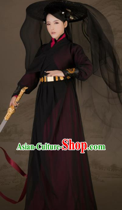 Chinese Ancient Female Swordsman Hanfu Dress Traditional Song Dynasty Knight Historical Costume for Women