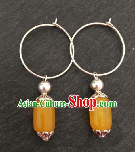 Chinese Mongol Nationality Yellow Chalcedony Ear Accessories Traditional Mongolian Ethnic Earrings for Women