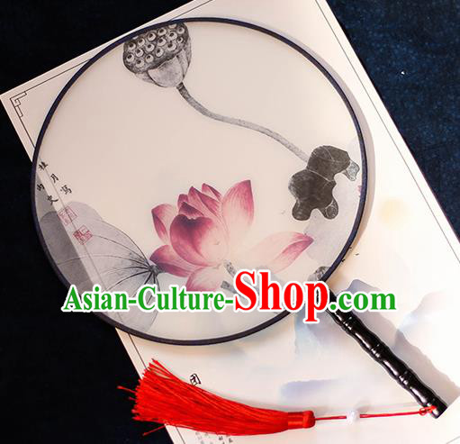 Chinese Traditional Printing Red Lotus Silk Round Fans Handmade Classical Palace Fans for Women