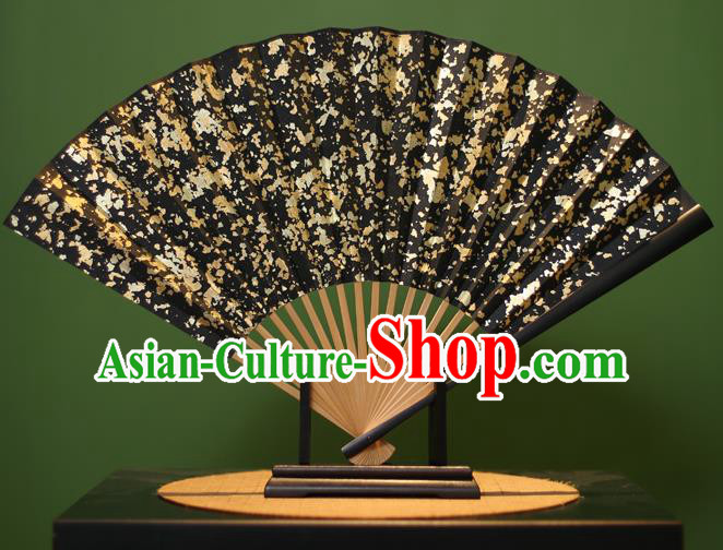 Chinese Traditional Handmade Golden Sequins Black Xuan Paper Fans Classical Folding Fans for Men