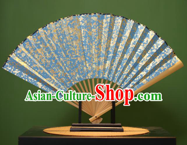 Chinese Traditional Handmade Sequins Blue Xuan Paper Fans Classical Folding Fans for Men