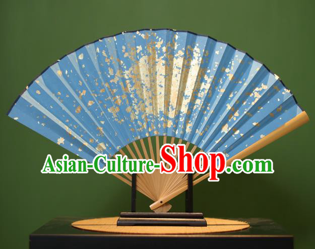 Chinese Traditional Handmade Blue Xuan Paper Fans Classical Sequins Folding Fans for Men