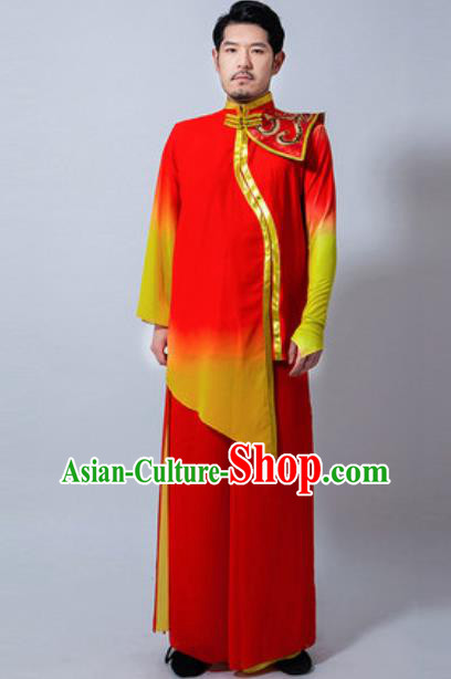 Chinese Folk Dance Drum Dance Red Costume Classical Dance Clothing for Men