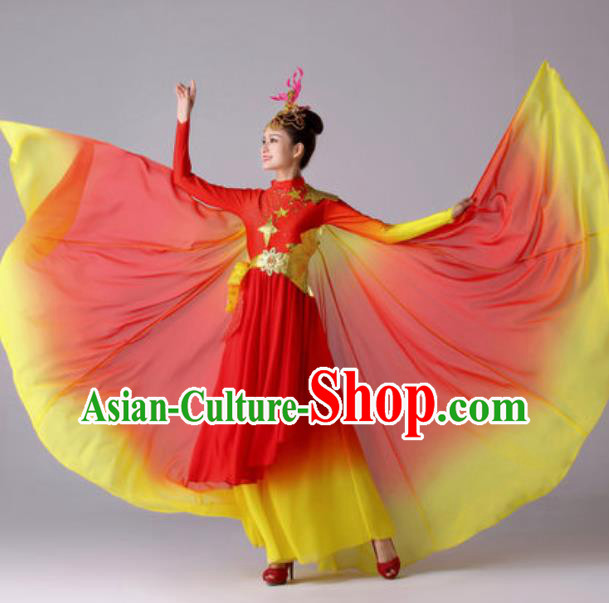 Top Grade Modern Dance Costume Traditional Spring Festival Gala Stage Performance Red Dress for Women