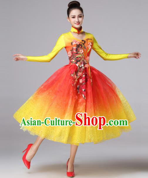 Top Grade Modern Dance Costume Traditional Spring Festival Gala Stage Performance Bubble Dress for Women