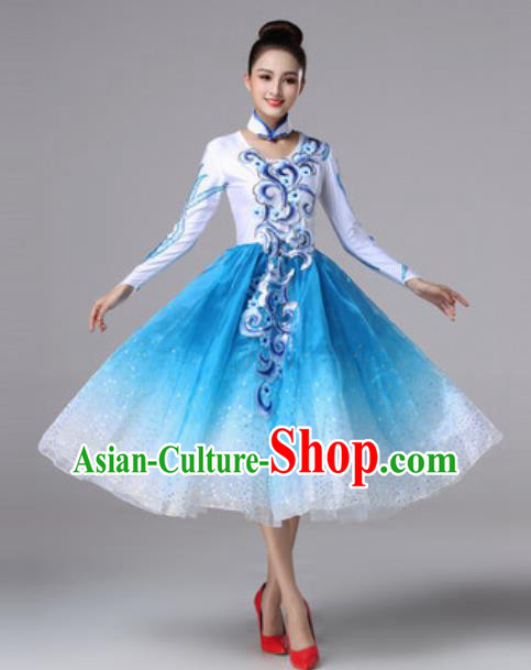 Top Grade Modern Dance Costume Traditional Spring Festival Gala Stage Performance Blue Bubble Dress for Women