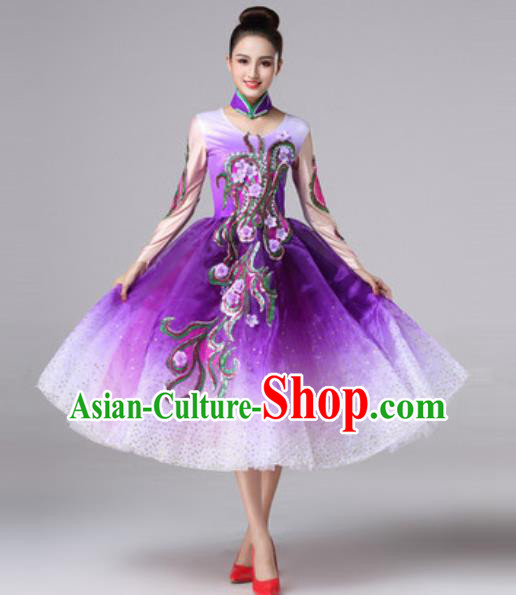 Top Grade Modern Dance Costume Traditional Spring Festival Gala Stage Performance Purple Bubble Dress for Women