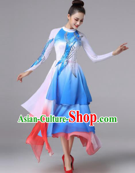 Top Grade Modern Dance Chorus Costume Traditional Spring Festival Gala Stage Performance Blue Dress for Women