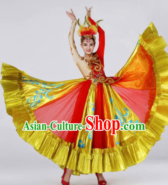 Top Grade Modern Dance Costume Spring Festival Gala Stage Performance Red Dress for Women