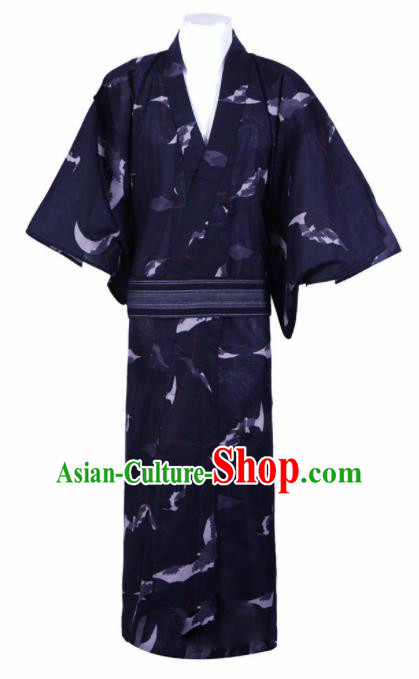Japanese Traditional Samurai Printing Navy Blue Kimono Robe Asian Japan Handmade Warrior Yukata Costume for Men