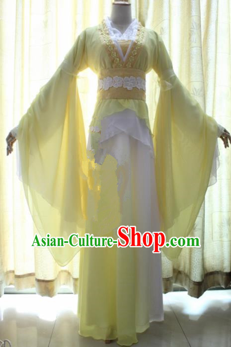 Chinese Traditional Cosplay Princess Costume Ancient Swordswoman Yellow Hanfu Dress for Women