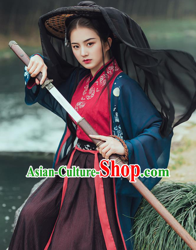 Chinese Ancient Female Swordsman Embroidered Hanfu Dress Jin Dynasty Nobility Lady Historical Costume for Women