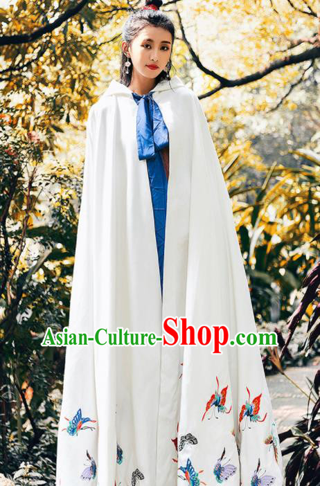 Ancient Chinese Ming Dynasty Historical Costume Traditional Palace Princess Embroidered Butterfly White Cloak for Women