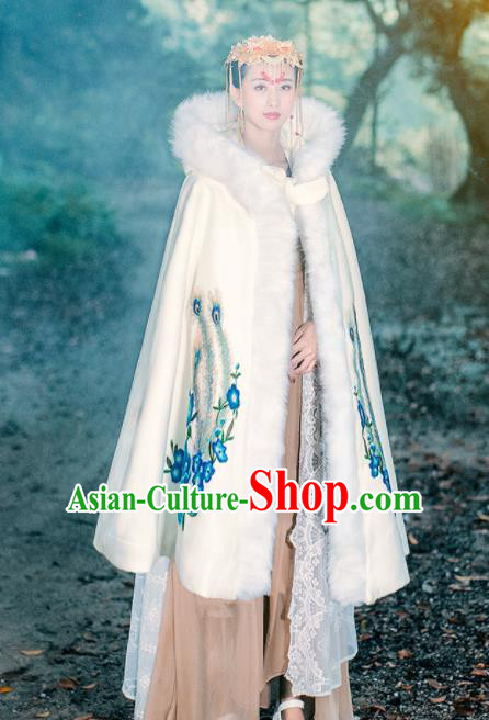 Ancient Chinese Ming Dynasty Historical Costume Traditional Palace Princess Embroidered Peony White Cloak for Women