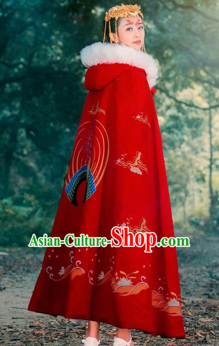 Ancient Chinese Ming Dynasty Historical Costume Traditional Palace Princess Embroidered Red Cloak for Women
